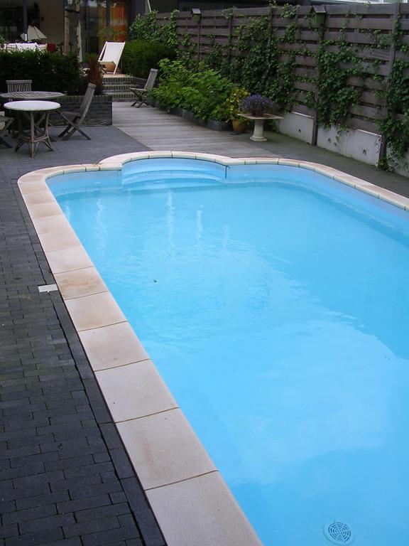 Stalen panelen zwembad met romeinse trap en blauwe inhangfolie